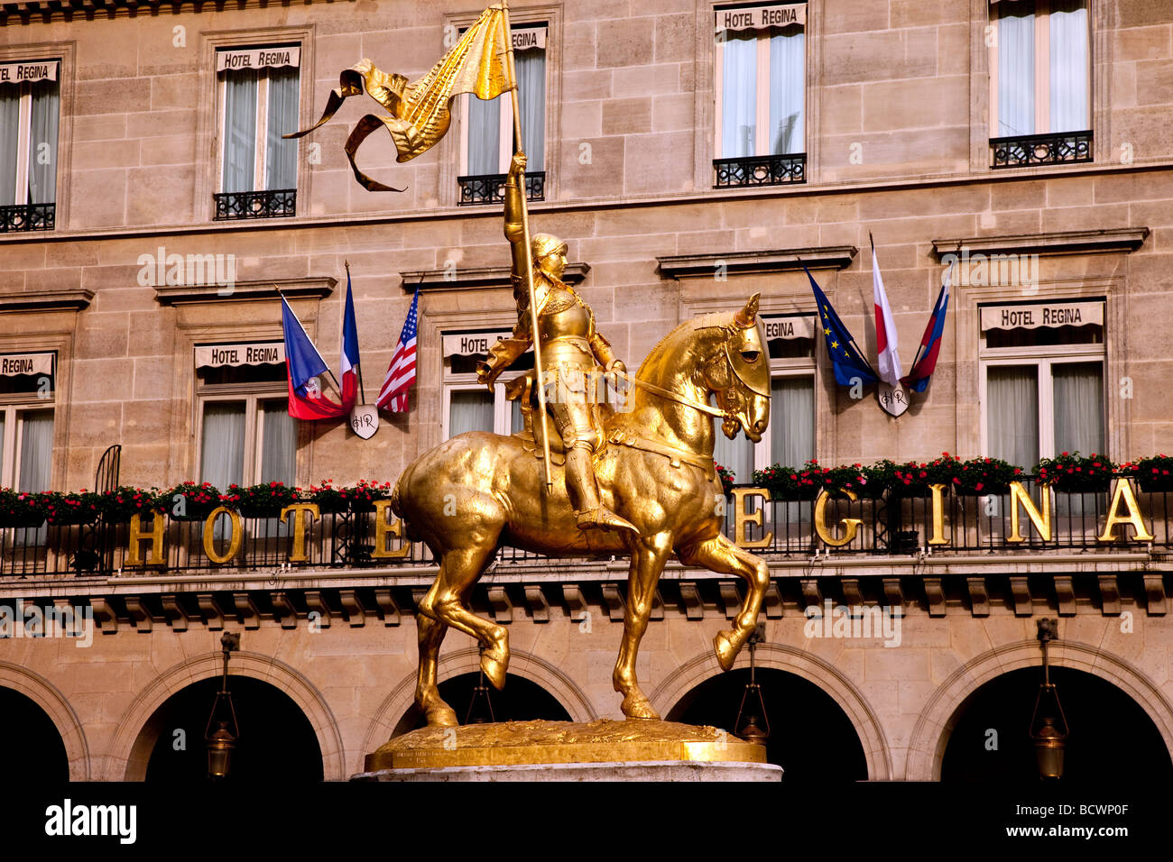 Gilded statue of Joan of Arc, Paris France - Stock Image