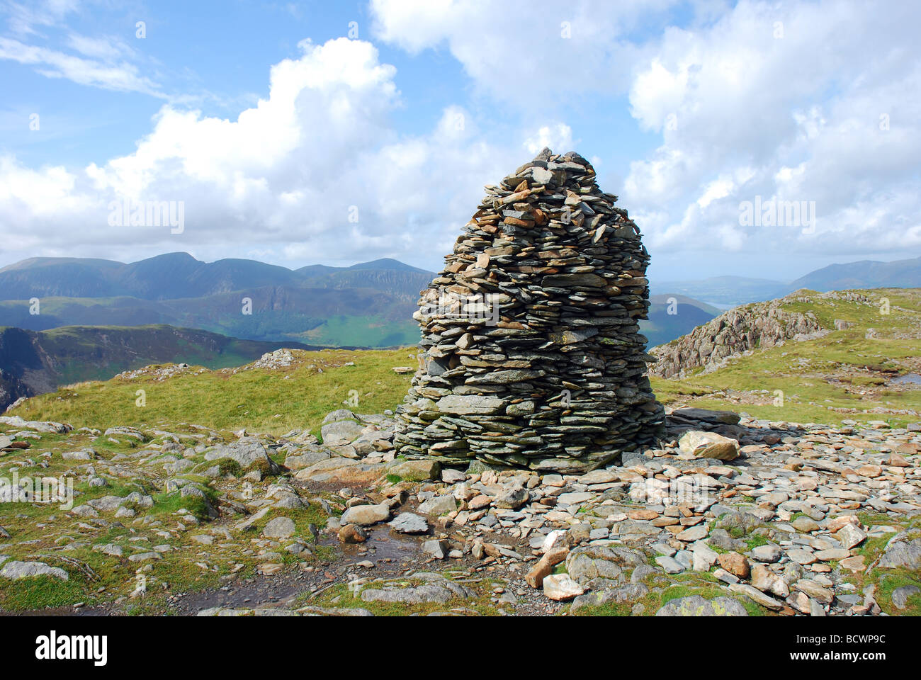 Large summit cairn on the fell High Spy, Lake District, Cumbria, England - Stock Image