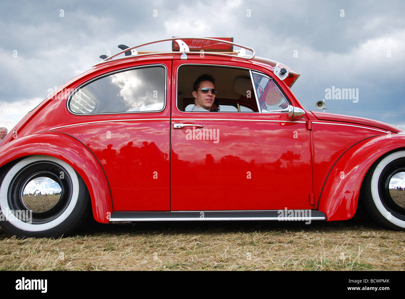 classic red vw beetle lowrider stock photo 25152867 alamy. Black Bedroom Furniture Sets. Home Design Ideas
