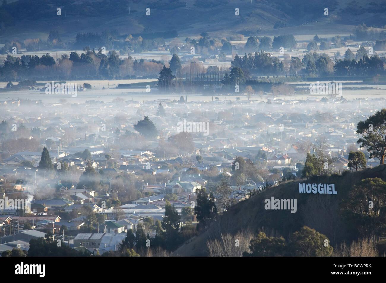 Winter Air Pollution over Mosgiel Dunedin Otago South Island New Zealand - Stock Image