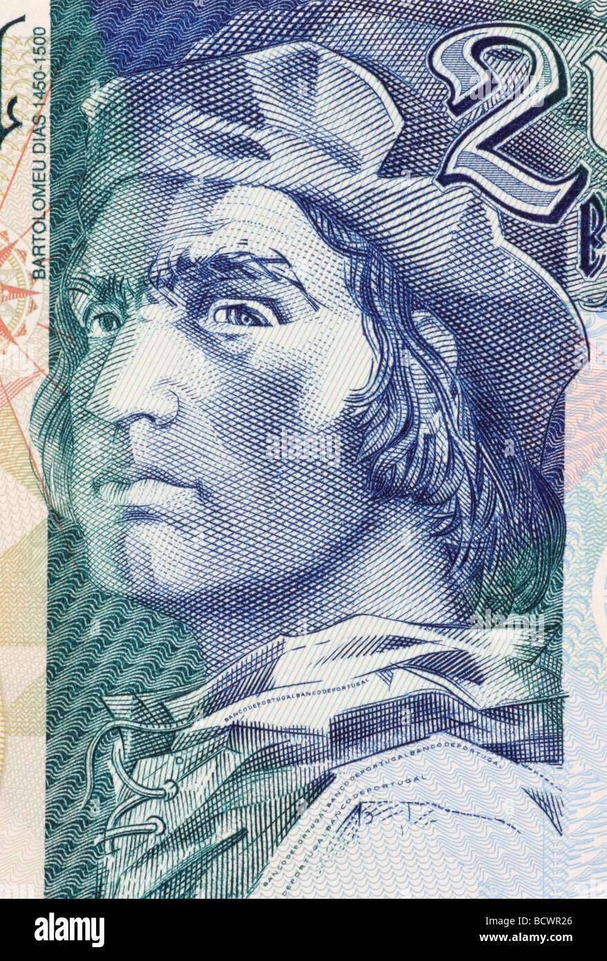 Bartolomeu Dias on 2000 Escudos 2000 Banknote from Portugal - Stock Image