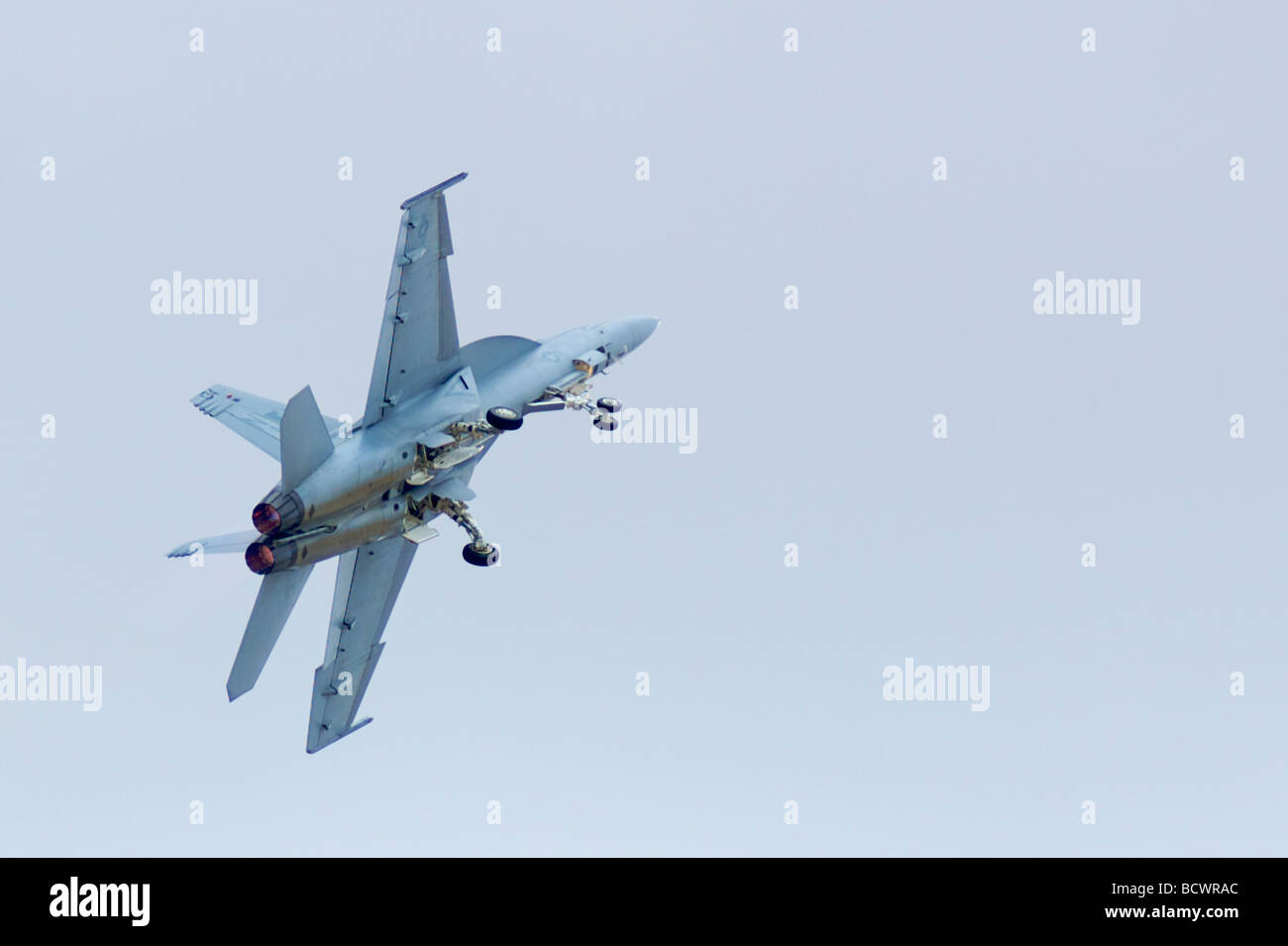 An FA 18 Hornet fighter jet flies during a tactical demonstration at the Miramar Airshow 2008  Stock Photo