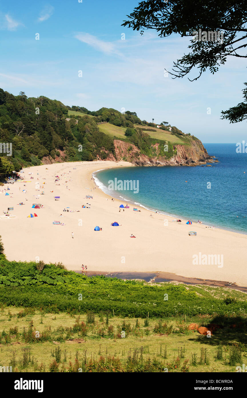 blackpool sands near dartmouth in devon, uk - Stock Image
