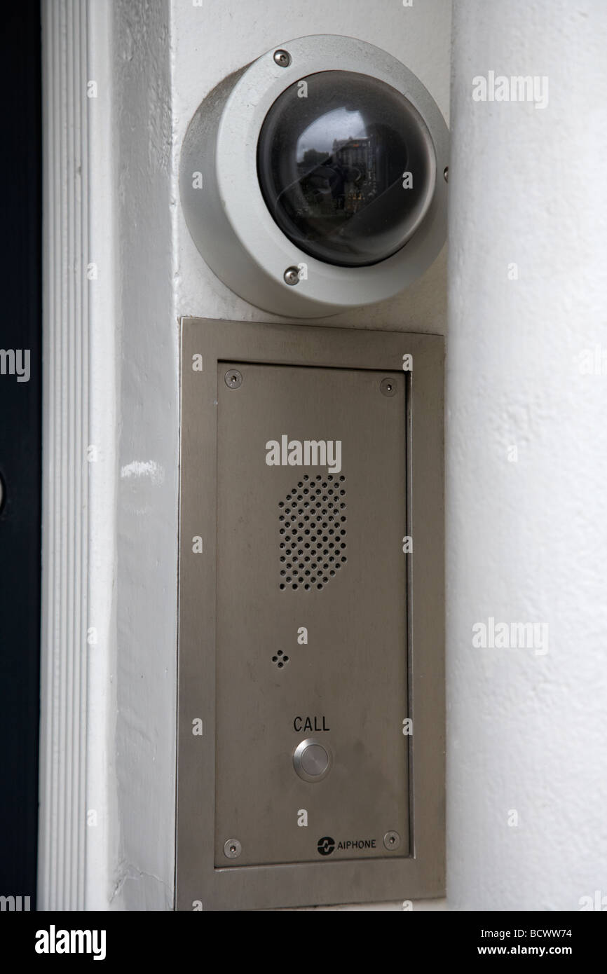 security camera and door entry buzzer and intercom - Stock Image