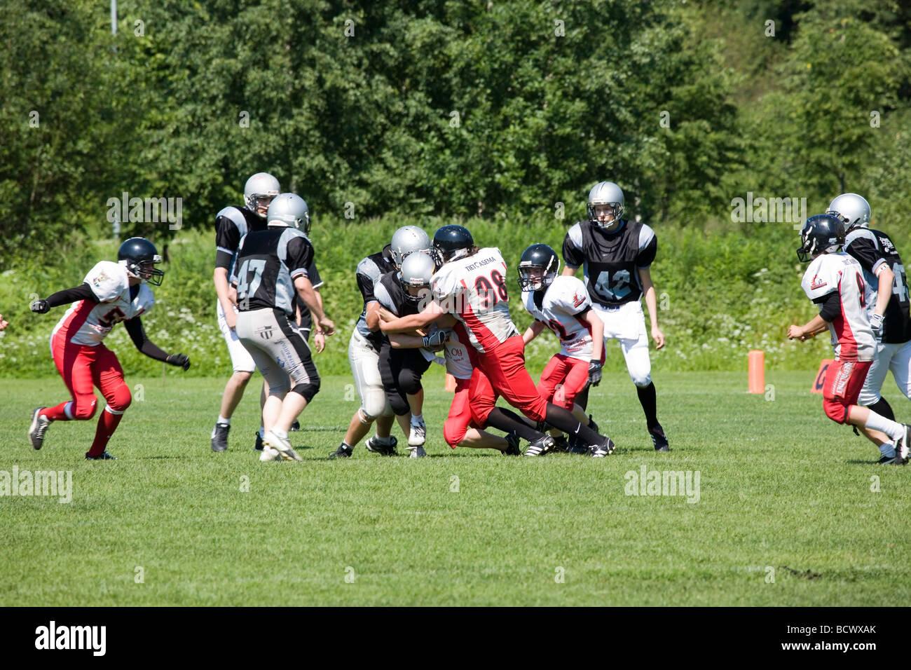 Junior American football game action Lappeenranta Finland - Stock Image