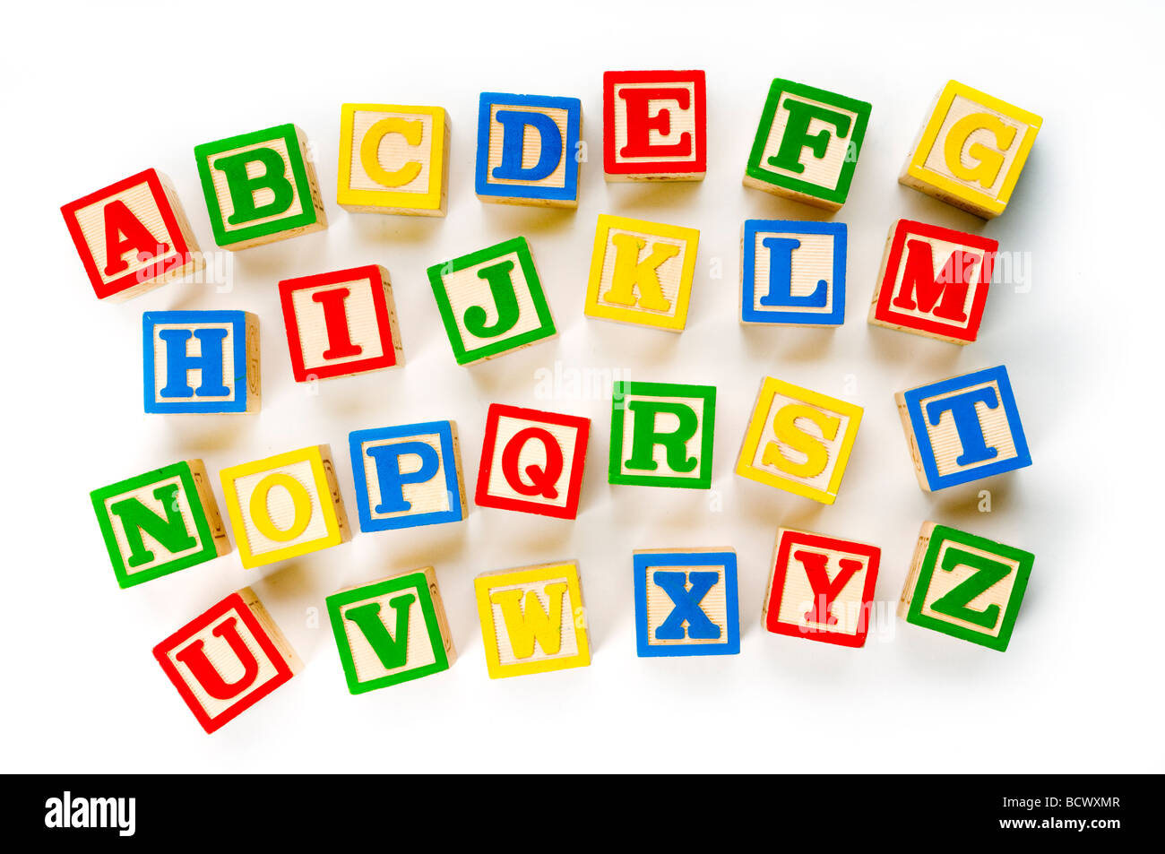 alphabet blocks on white Stock Photo