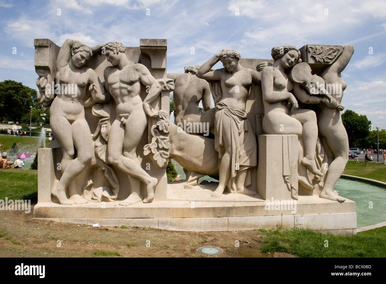 Sculpture in the Trocadero, Paris, France - Stock Image
