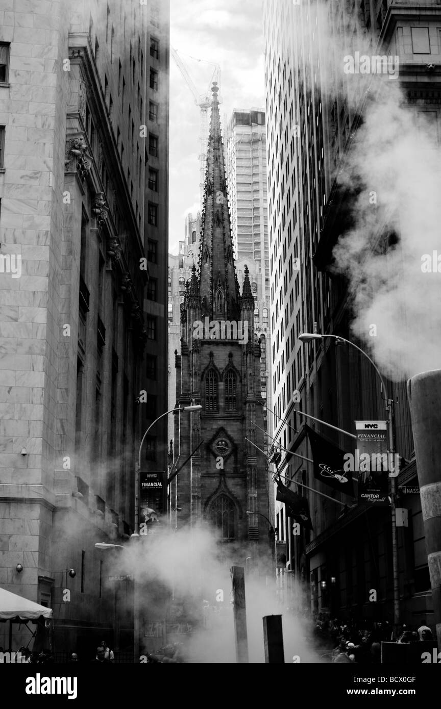 View of Trinity Church, also known as Trinity Wall Street at 79 Broadway and Wall Street , New York City, downtown - Stock Image