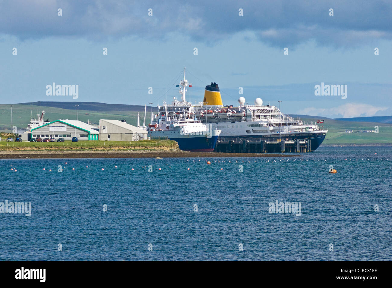 Cruise liner Saga Rose moored at the pier in Kirkwall harbour Orkney Scotland - Stock Image
