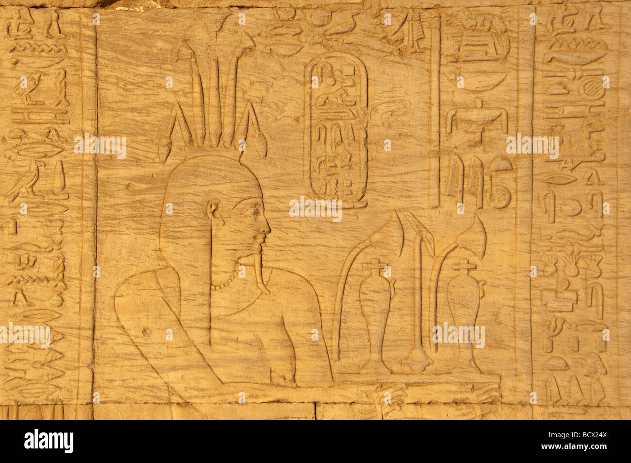 Egypt Kom Ombo Temple Hieroglyph Carving Relief Pharaoh Wearing