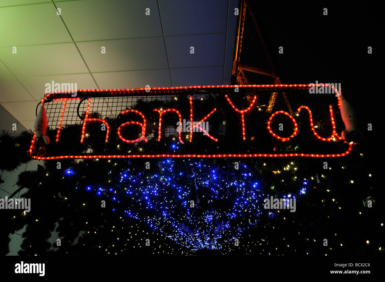 Thank You sign in English at the exit of Tokyo Tower Tokyo Japan - Stock Image