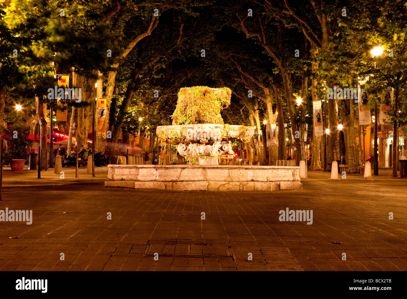 Fountain in Aix en-Provence, France - Stock Image