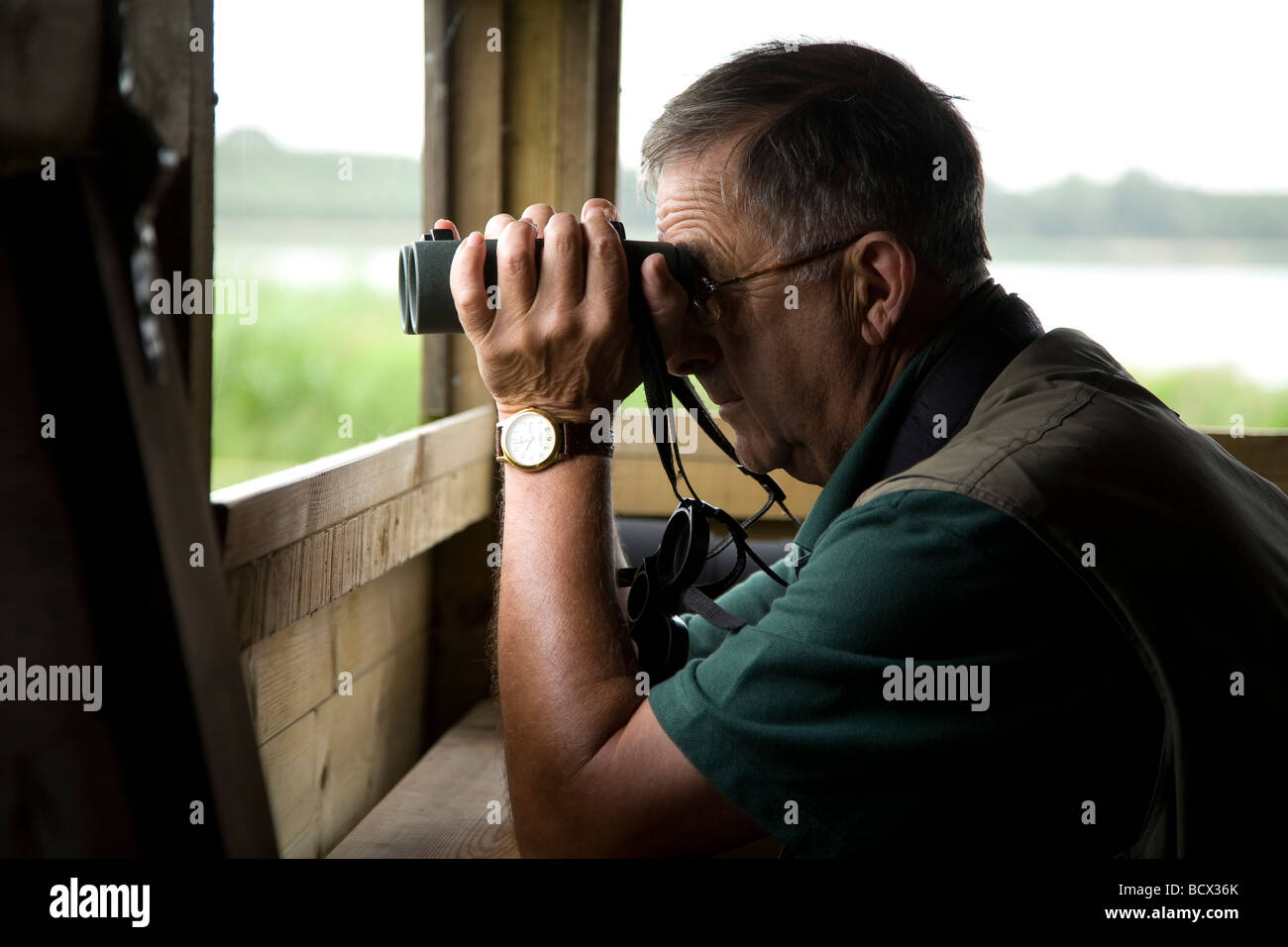 rutland oakham bird watching watchers hut - Stock Image