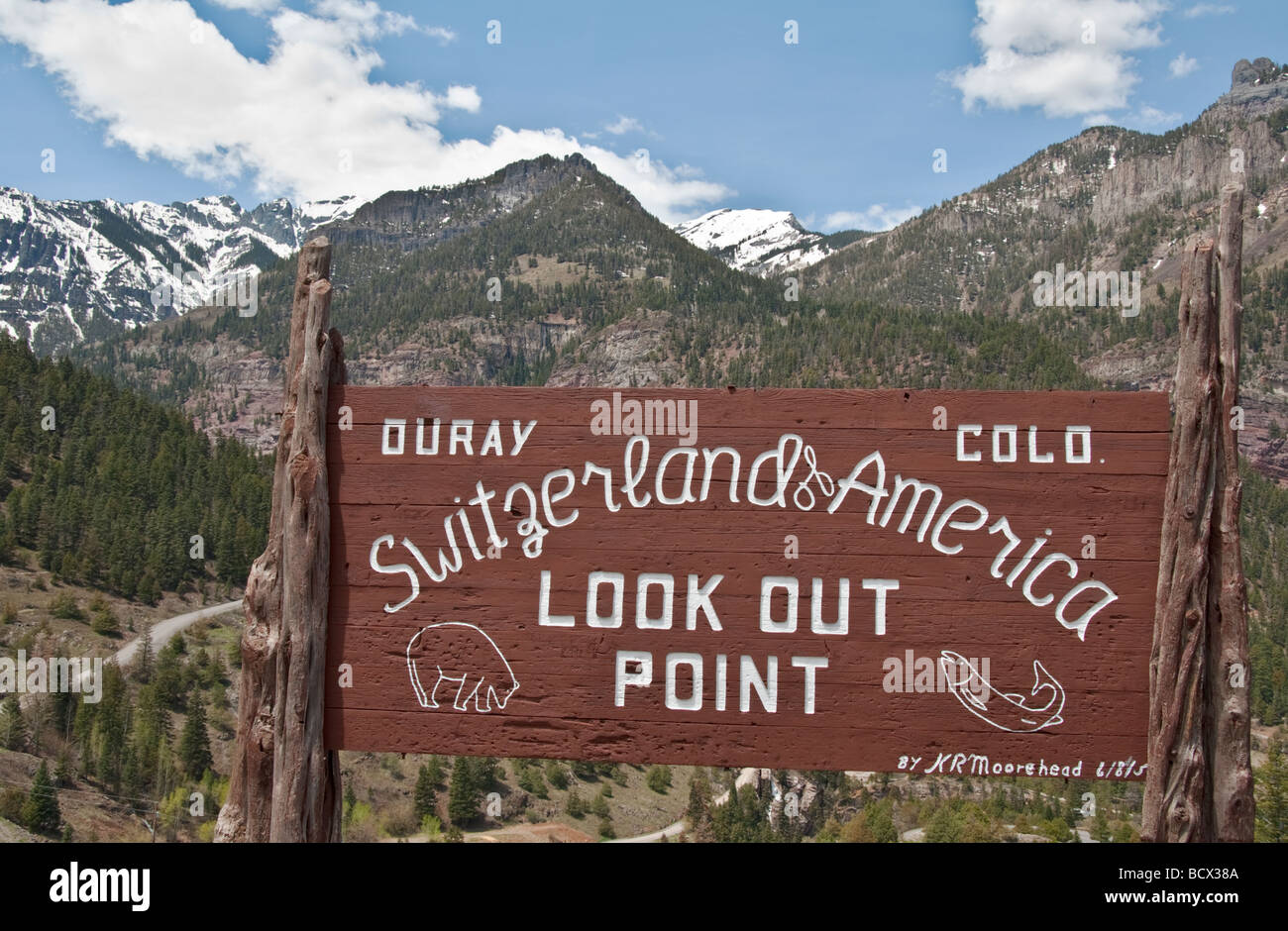 Colorado Ouray at northern end of the Million Dollar Highway Switzerland of America Look Out Point - Stock Image