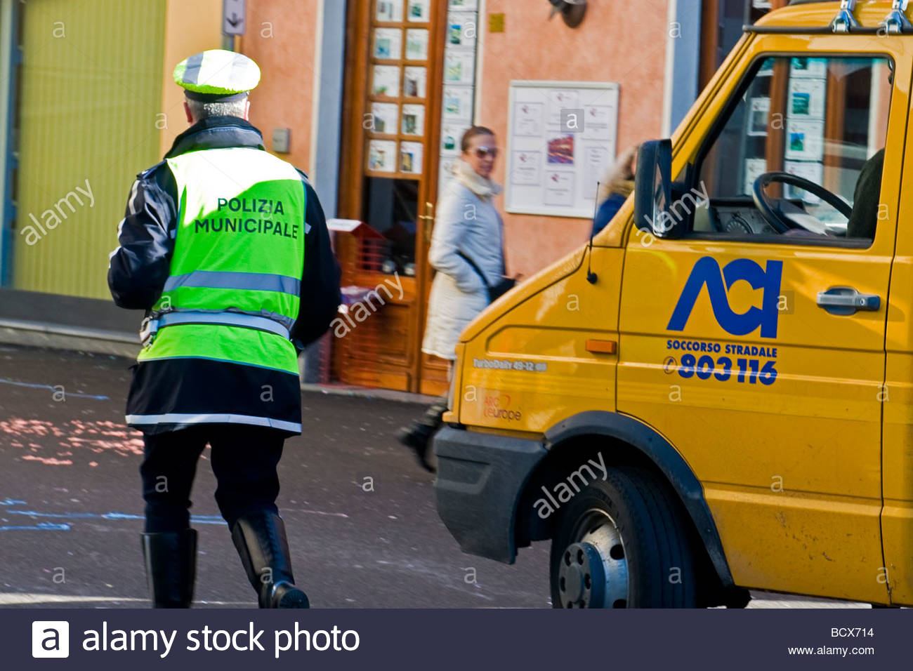 removal of an illegally parked car - Stock Image