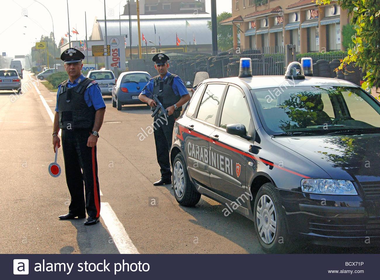 roadblock, carabinieri - Stock Image