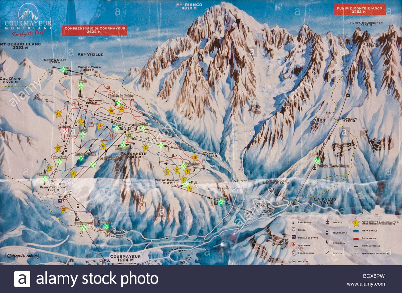 map, monte bianco, valle d'aosta, italy - Stock Image