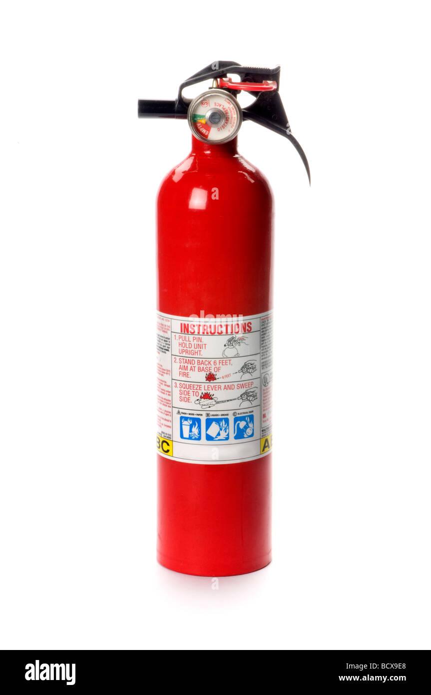 fire extinguisher on white - Stock Image