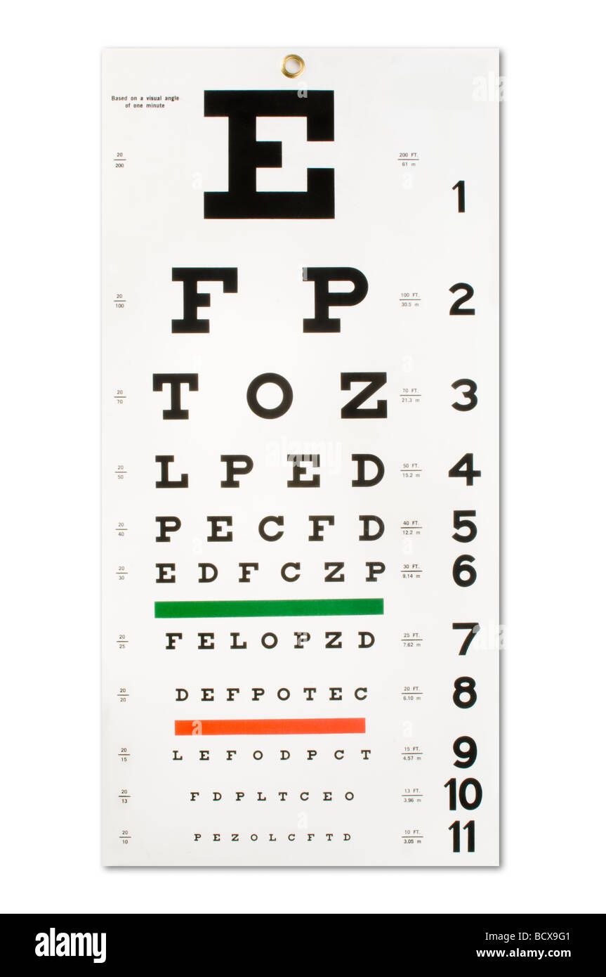 eye chart on white - Stock Image