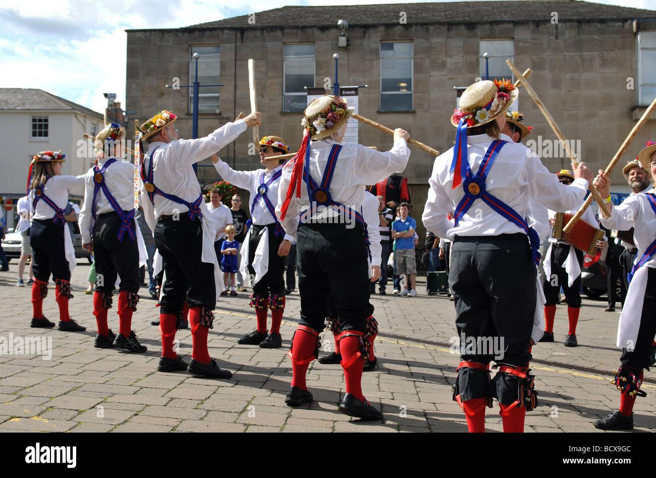 Morris dancing at Warwick Folk Festival, UK - Stock Image