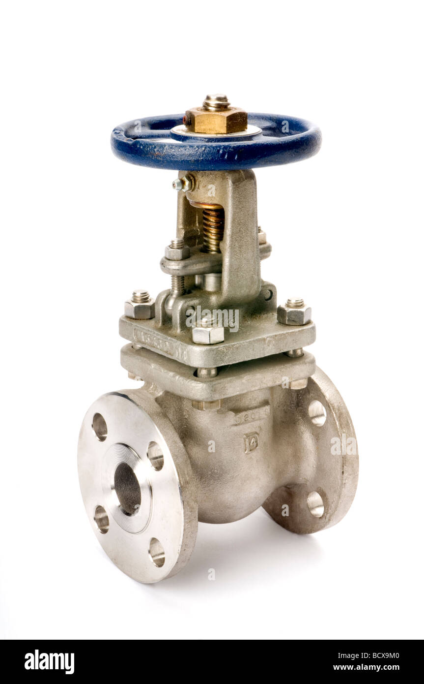 large gate valve on white - Stock Image
