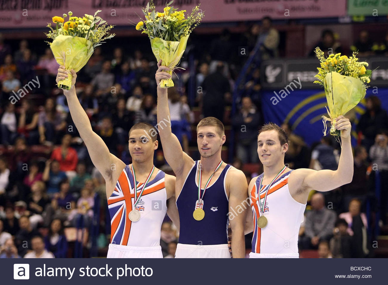 luis smith, kristian berki, daniel keatings, milano 2009, europeanartisticgymnasticchampionships Stock Photo
