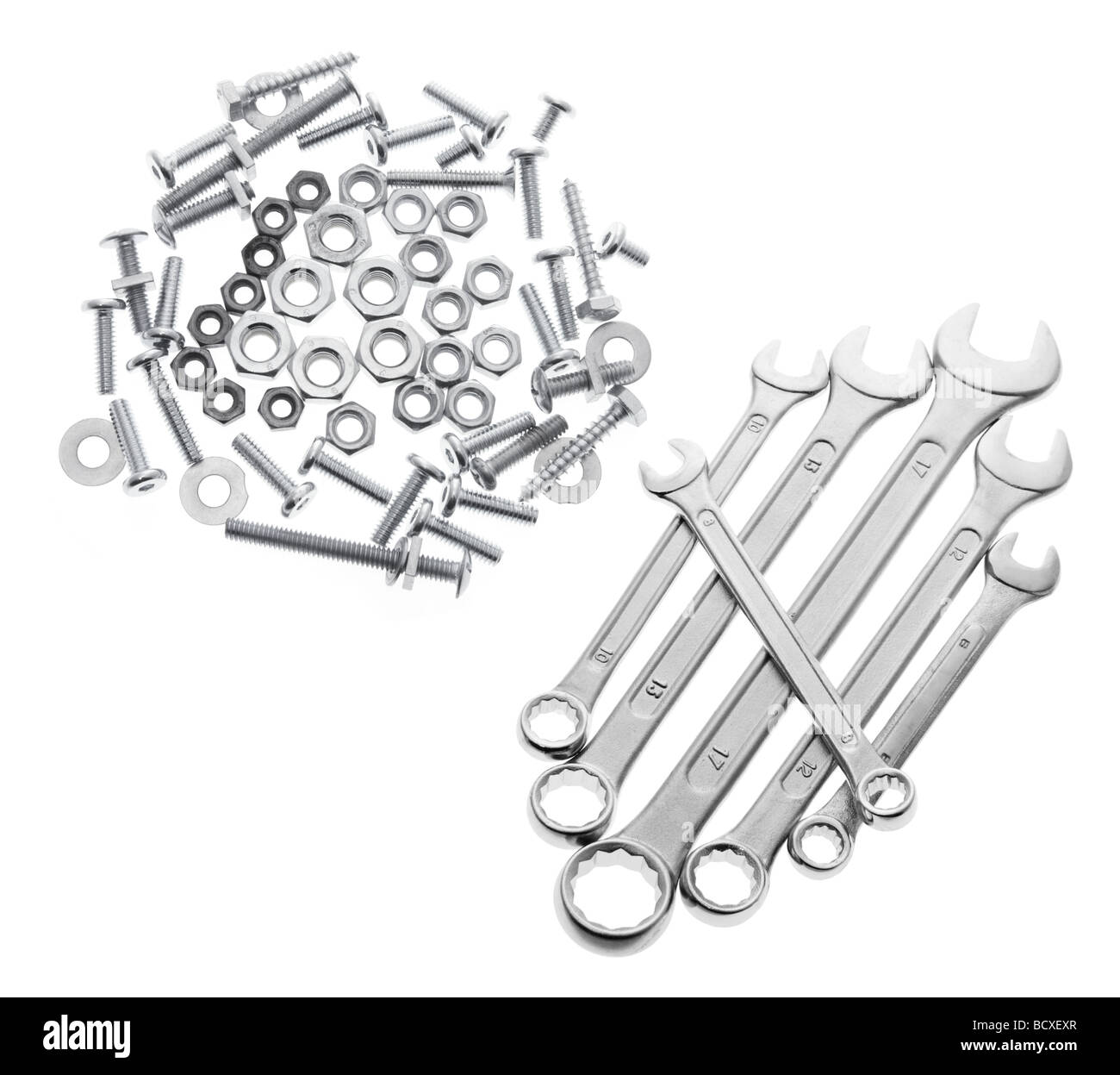 Spanners with Bolts and Nuts - Stock Image