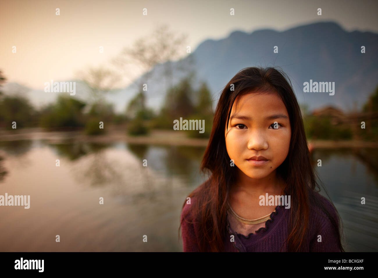 portrait of a girl nr Vang Vieng, Laos - Stock Image