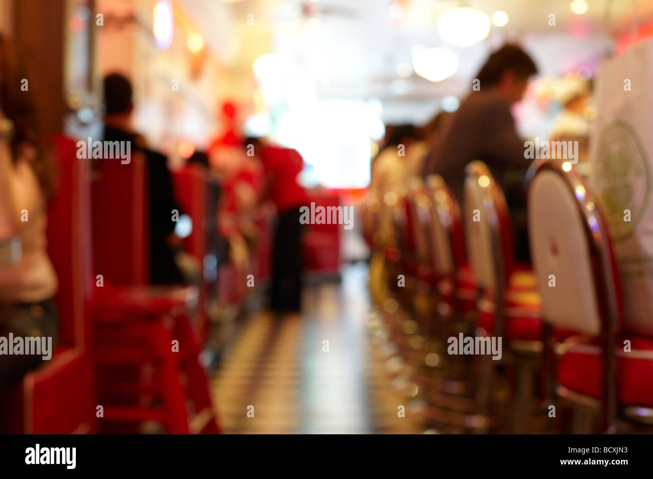 Deliberately out of focus image of an American style Diner - Stock Image