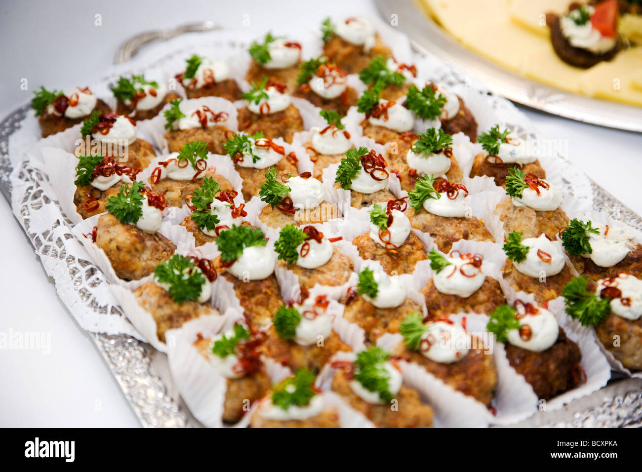 Starter with minced meat balls with decoration - Stock Image