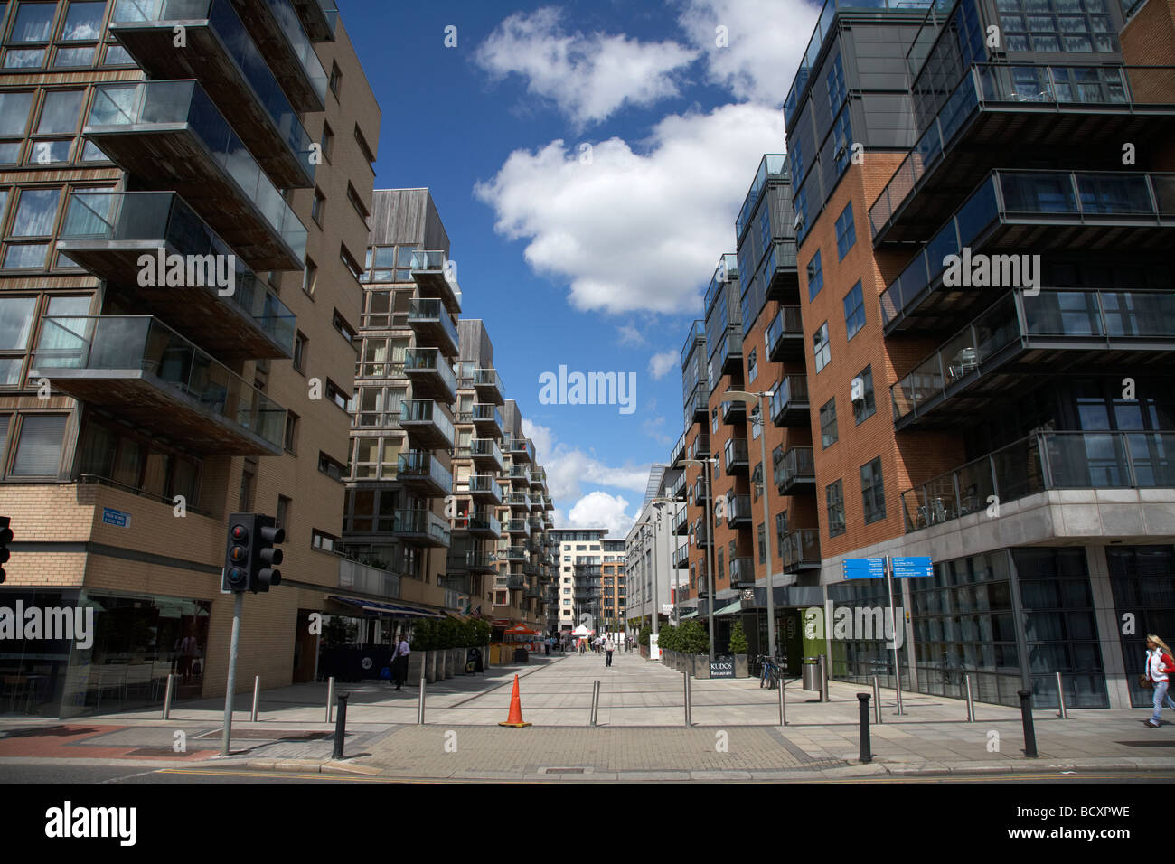 modern apartment buildings on excise walk and the clarion ifsc hotel on the north wall of dublins new docklands - Stock Image