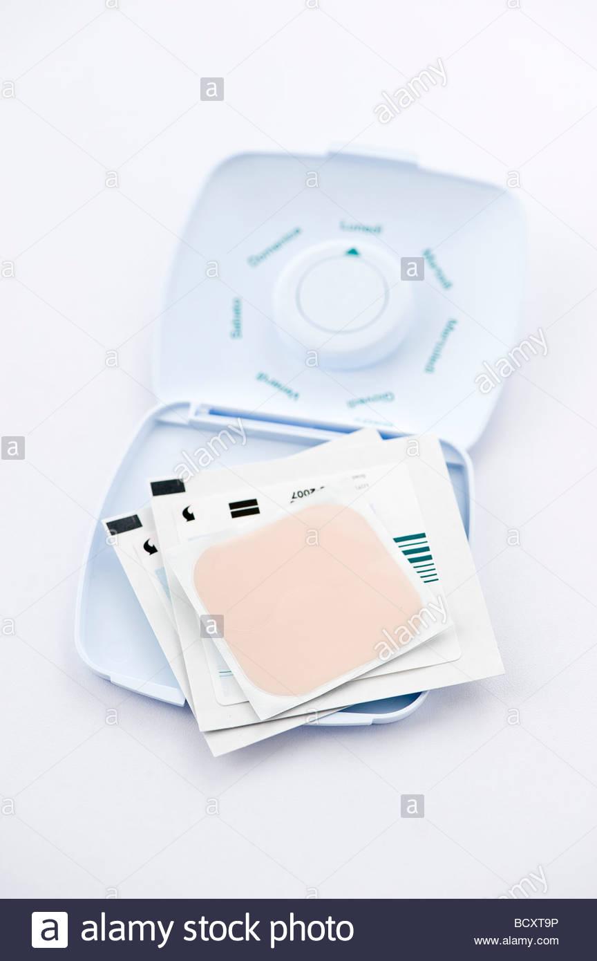 adhesive bandage, contraceptive Stock Photo