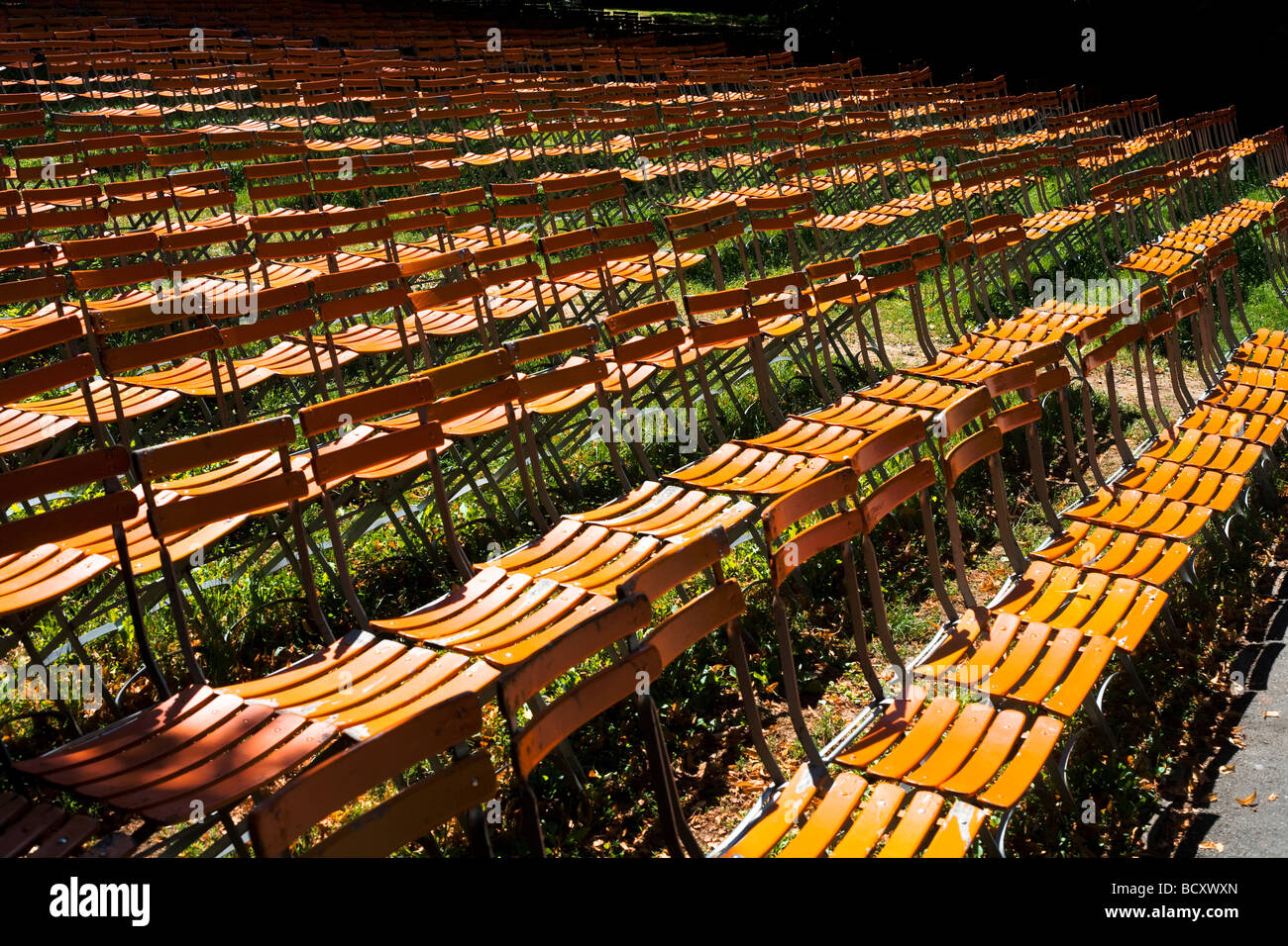 Chairs prepared for a concert during summer - Stock Image