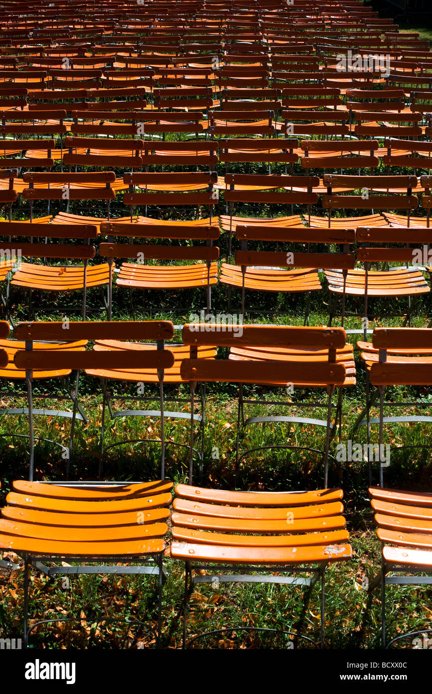 Chairs prepared for a concert during summer, Geneva - Stock Image