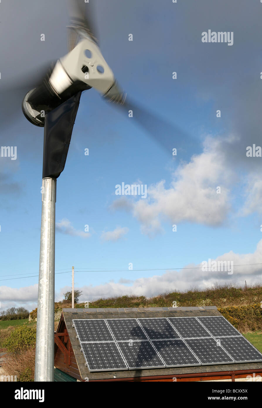 Domestic wind turbine with photovoltaic cells - Stock Image