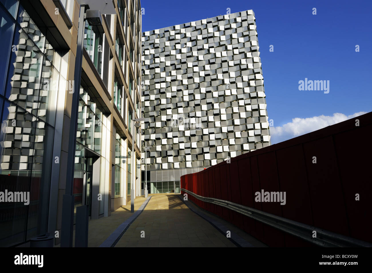 Modern architecture, including multi-storey car park, Sheffield city centre. - Stock Image