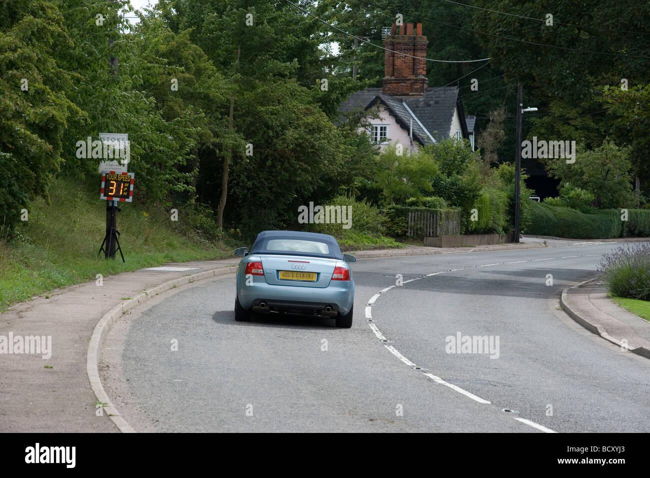 Speed Smiley SID Radar Speed indicator device SID Slow down 30mph village Sufflok stoke by clare Speeding transport - Stock Image