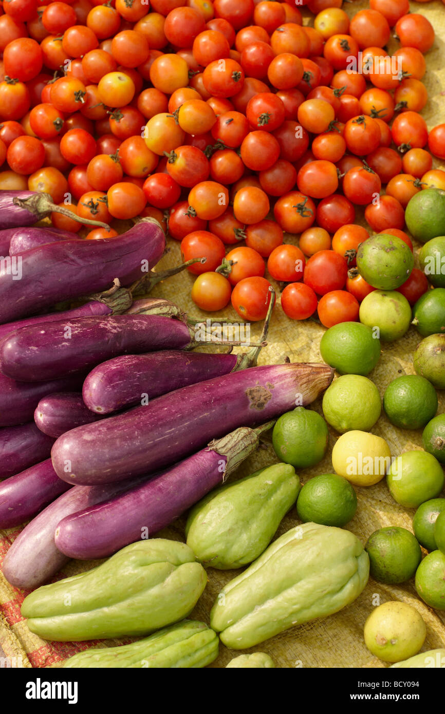 vegetables & fruit for sale in the market in Luang Prabang, Laos - Stock Image