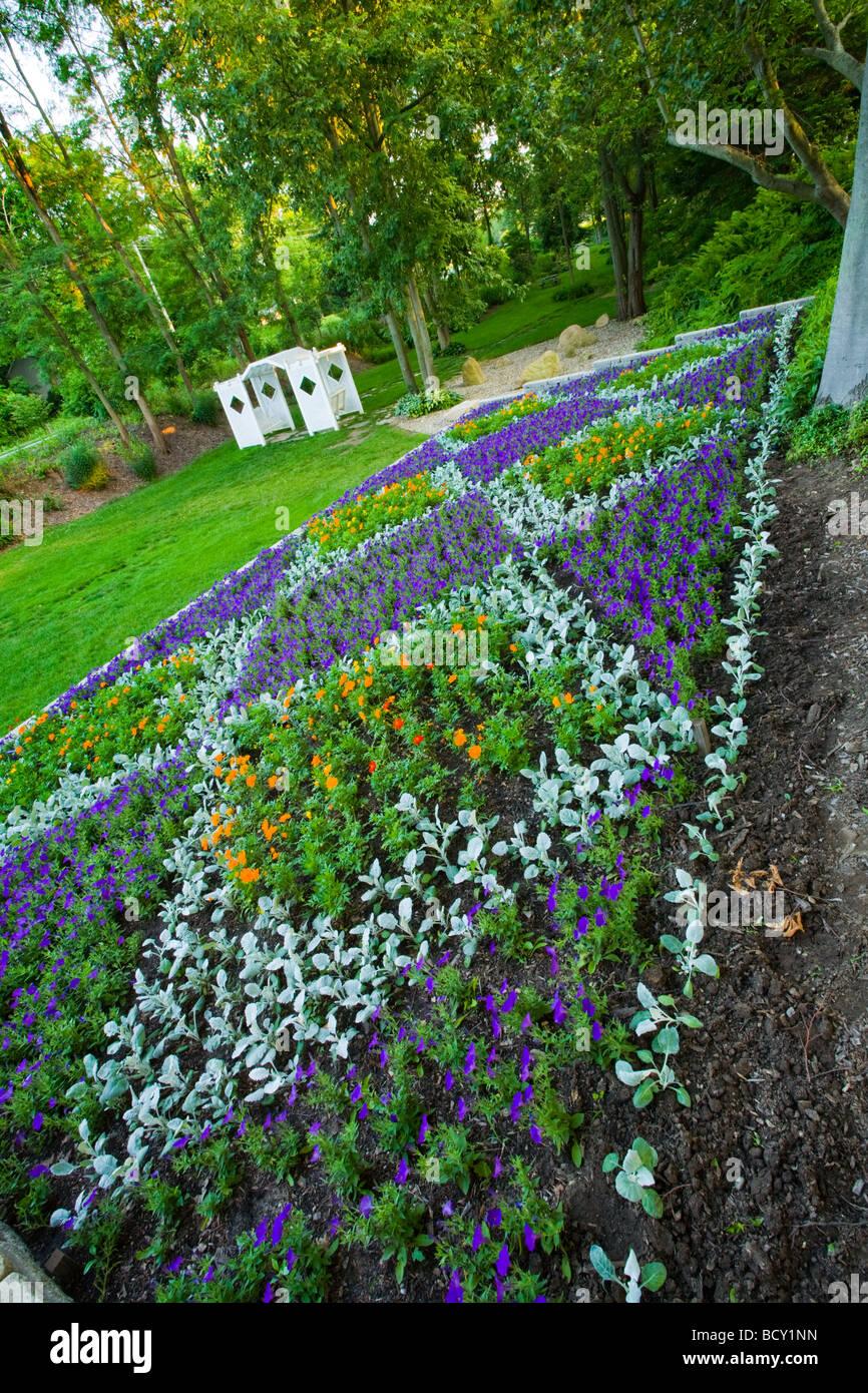 Amish quilt garden near Middlebury Indiana - Stock Image