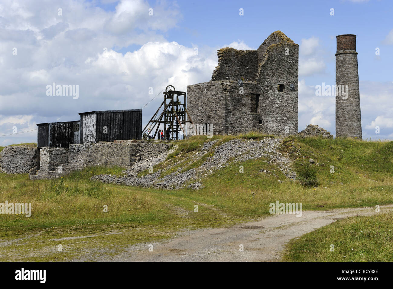 The old Magpie Mine, which mined lead, in the Peak District National Park, Derbyshire - Stock Image