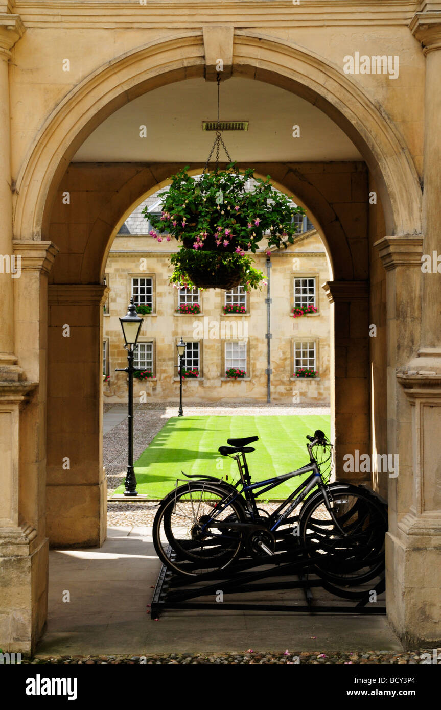 Bicycles parked at Peterhouse College Cambridge England UK - Stock Image