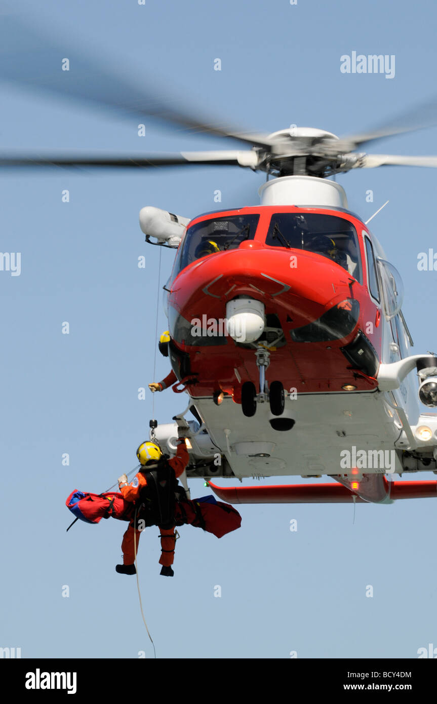 Agusta AW139 Coastguard Rescue Helicopter Search and Rescue - Stock Image