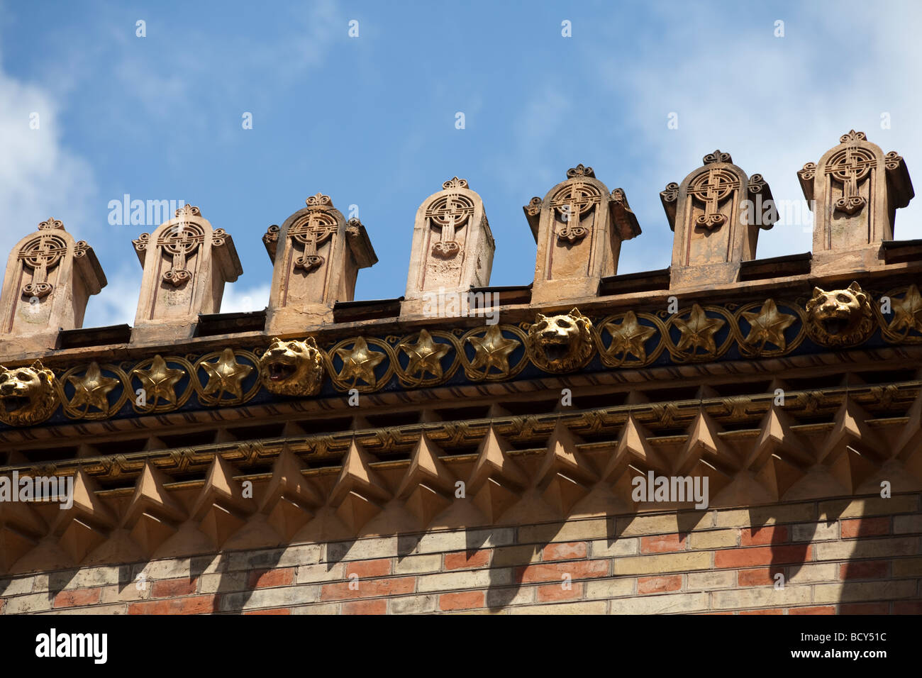 detail of crenelations, Griechische Kirche, Greek Orthodox Church of the Holy Trinity, Vienna, Austia - Stock Image