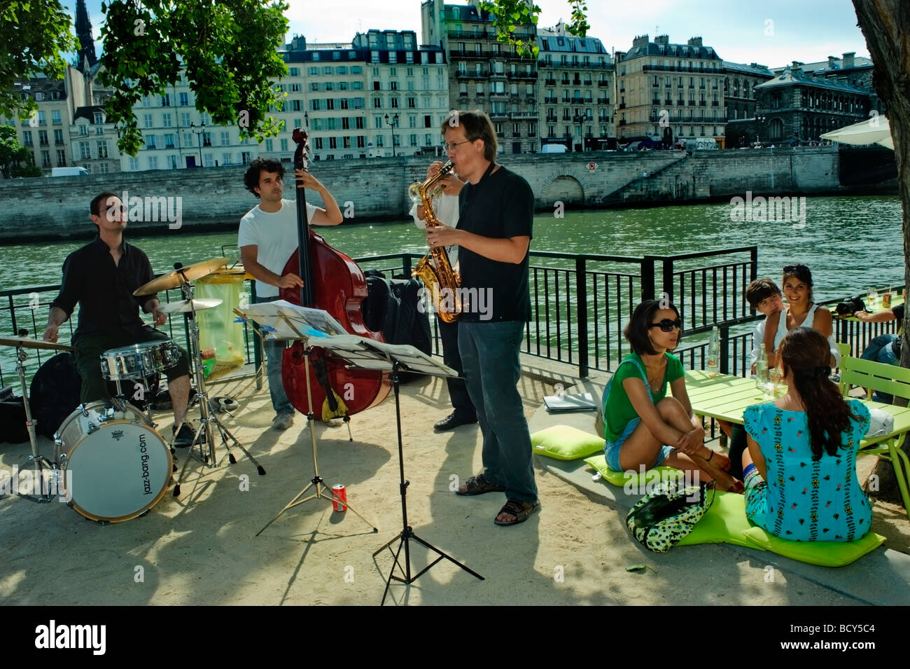Paris France, Public Events, Free Jazz Band Performing on Seine River Quay at 'Paris Plages' Summer Festival - Stock Image