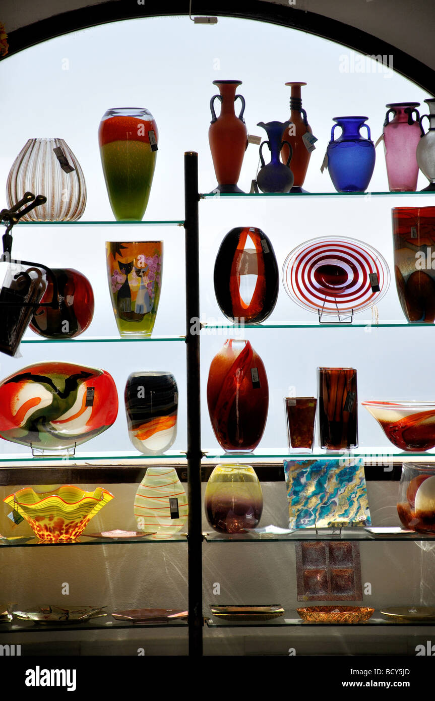 Glassware for sale in shop, Mijas, Costa del Sol, Malaga Province, Andalucia, Spain - Stock Image