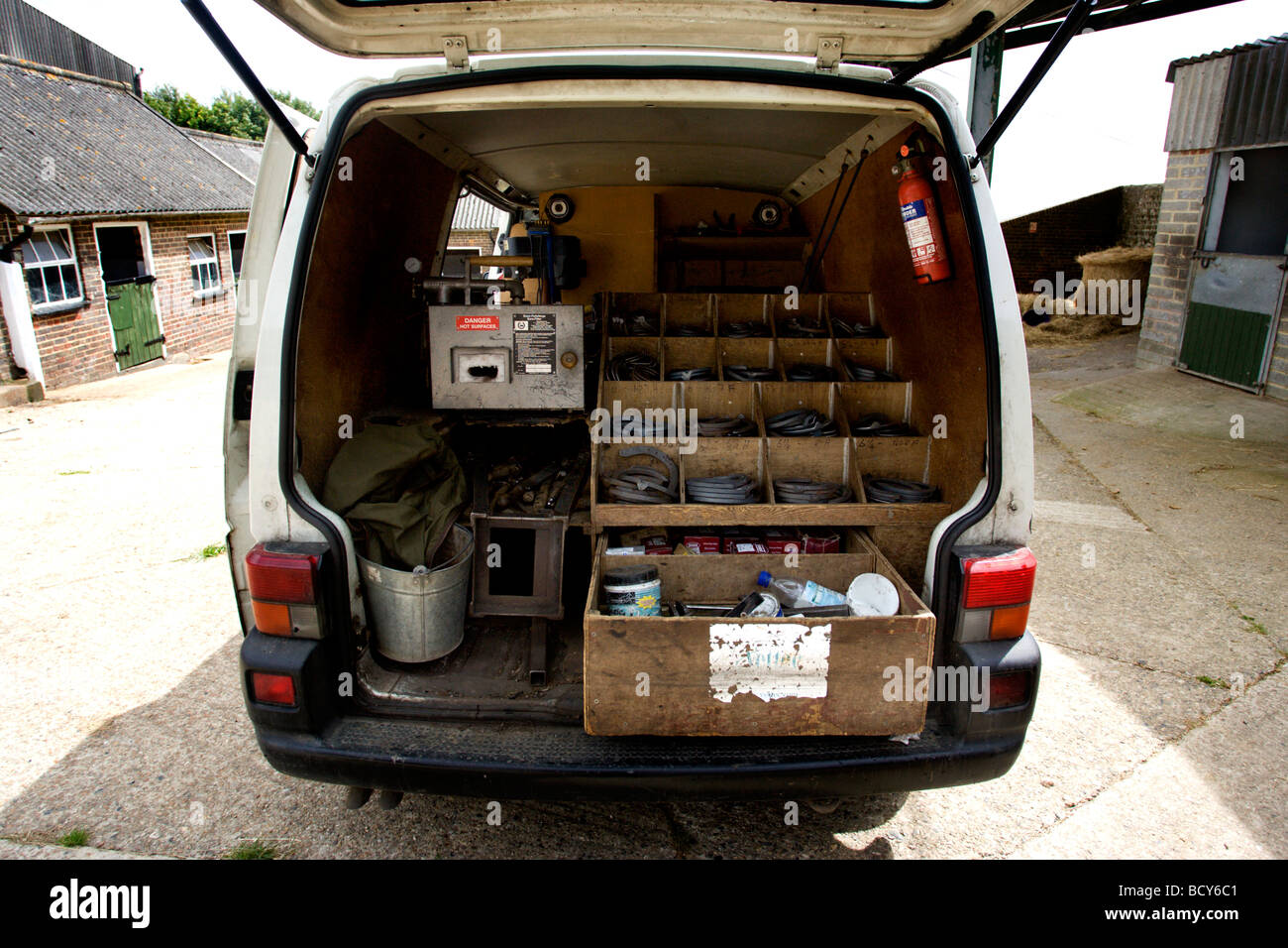 The inside of a van belonging to Blacksmith and Farriers C.Dean Son, pictured at Balmers Farm Stables, Lewes, East - Stock Image