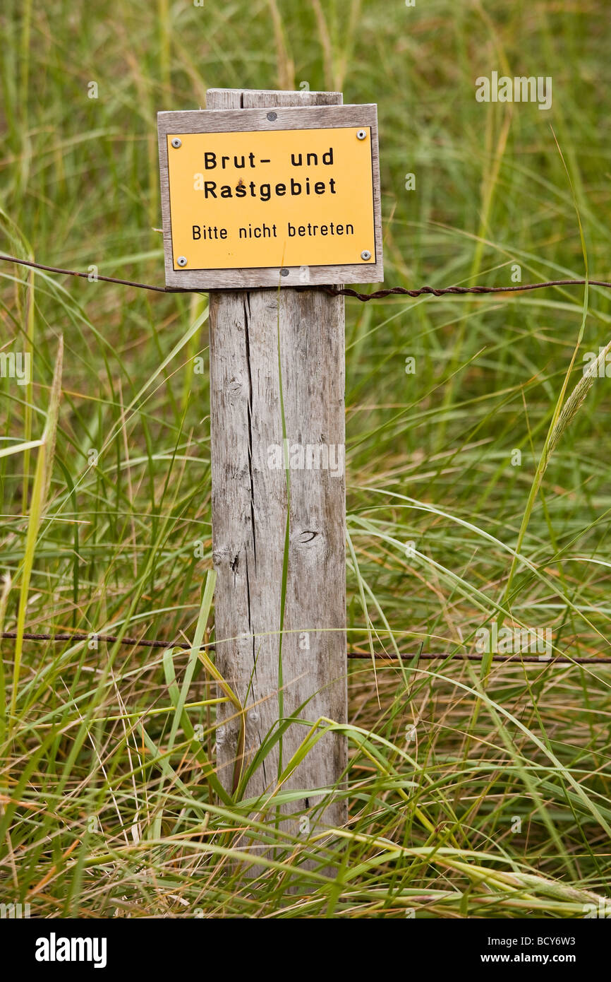 Sign, breeding and resting area, Amrum Island, Schleswig-Holstein, Germany, Europe - Stock Image
