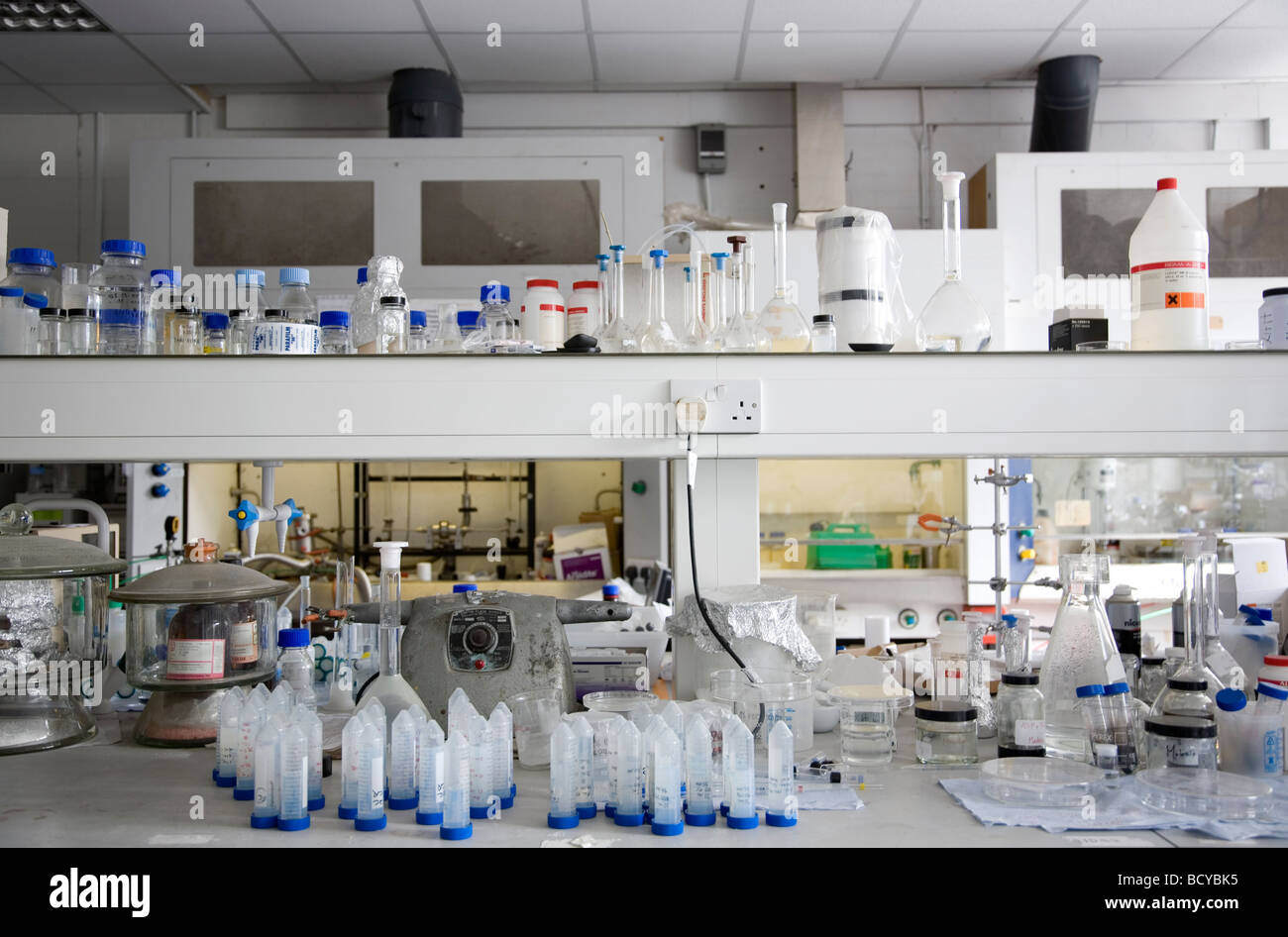 Busy lab shelves in Laboratory. - Stock Image