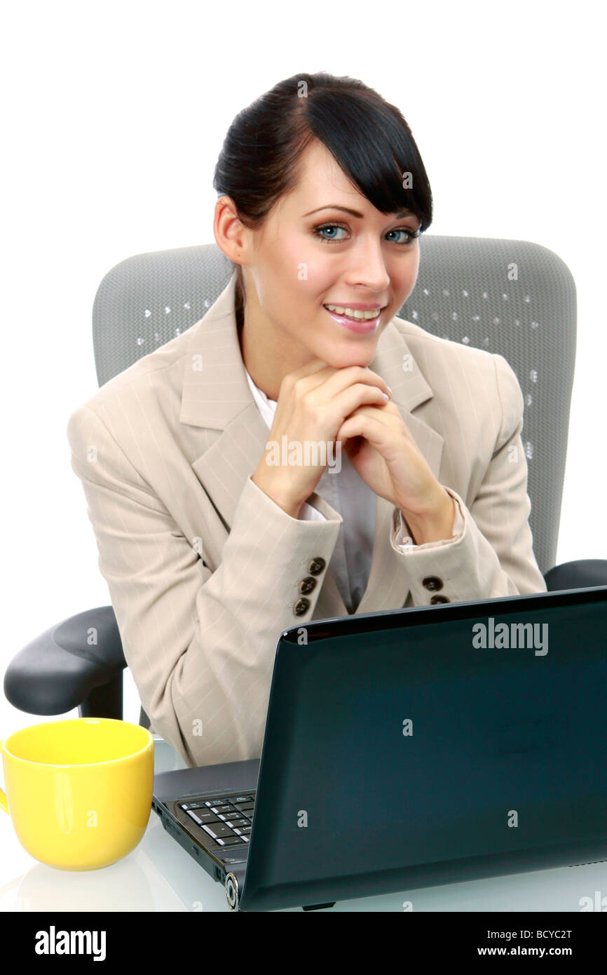 junge Geschaeftsfrau im Buero young business woman in the office - Stock Image