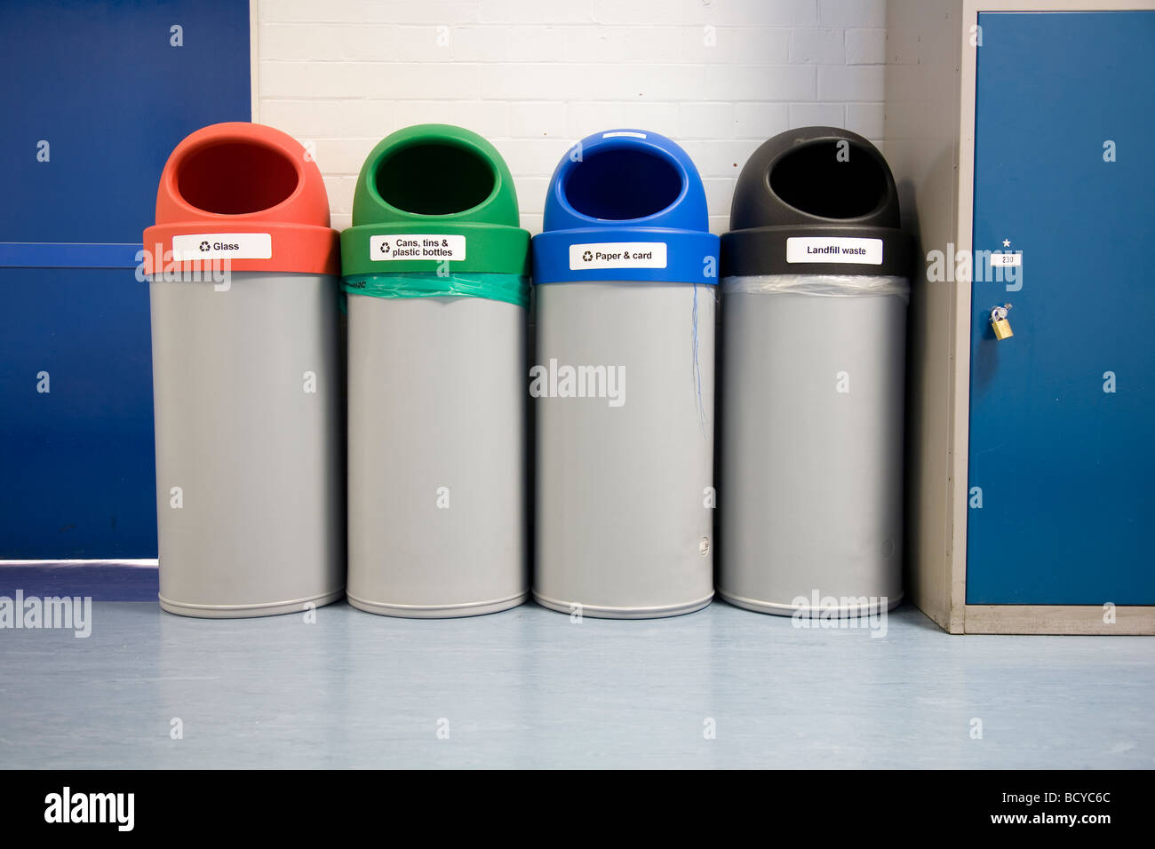 Recycling Bins indoors Stock Photo